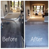A before and after picture of a successful phoenix flooring removal job.