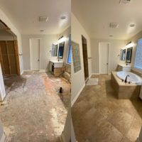 Before and after shot of a dust free tile removal job in Chandler Arizona.