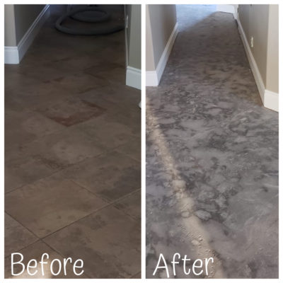 A before and after shot of a successful dust free tile removal job in Tempe Arizona.