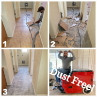 A before after picture of a dust free tile removal job in Gilbert Arizona.
