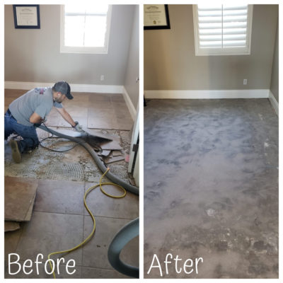Before and after shot of a dust free tile removal job in Scottsdale Arizona
